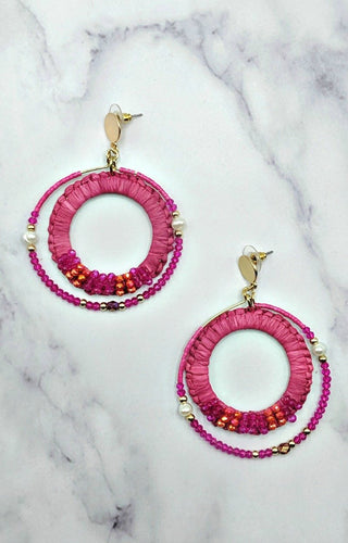 Wondering About You Earrings - Fuchsia