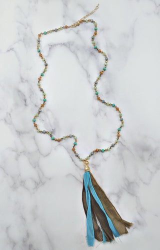 Might Be So Necklace - Teal/Brown