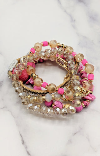Give Me Love Bracelet Set - Fuchsia Mix