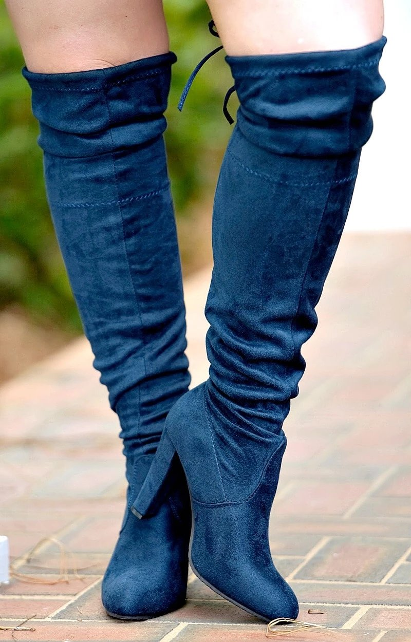 Load image into Gallery viewer, So Worth It Over The Knee Boots - Navy