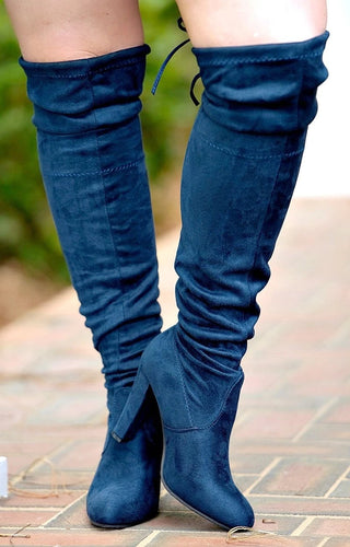 So Worth It Over The Knee Boots - Navy