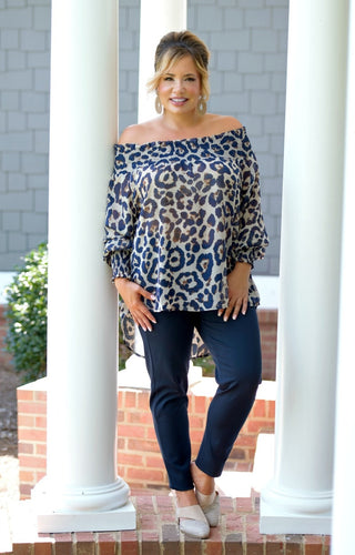 Limited Edition Leopard Print Top - Navy