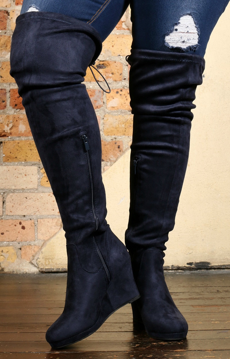 Make Time For Fun Knee Boots - Navy
