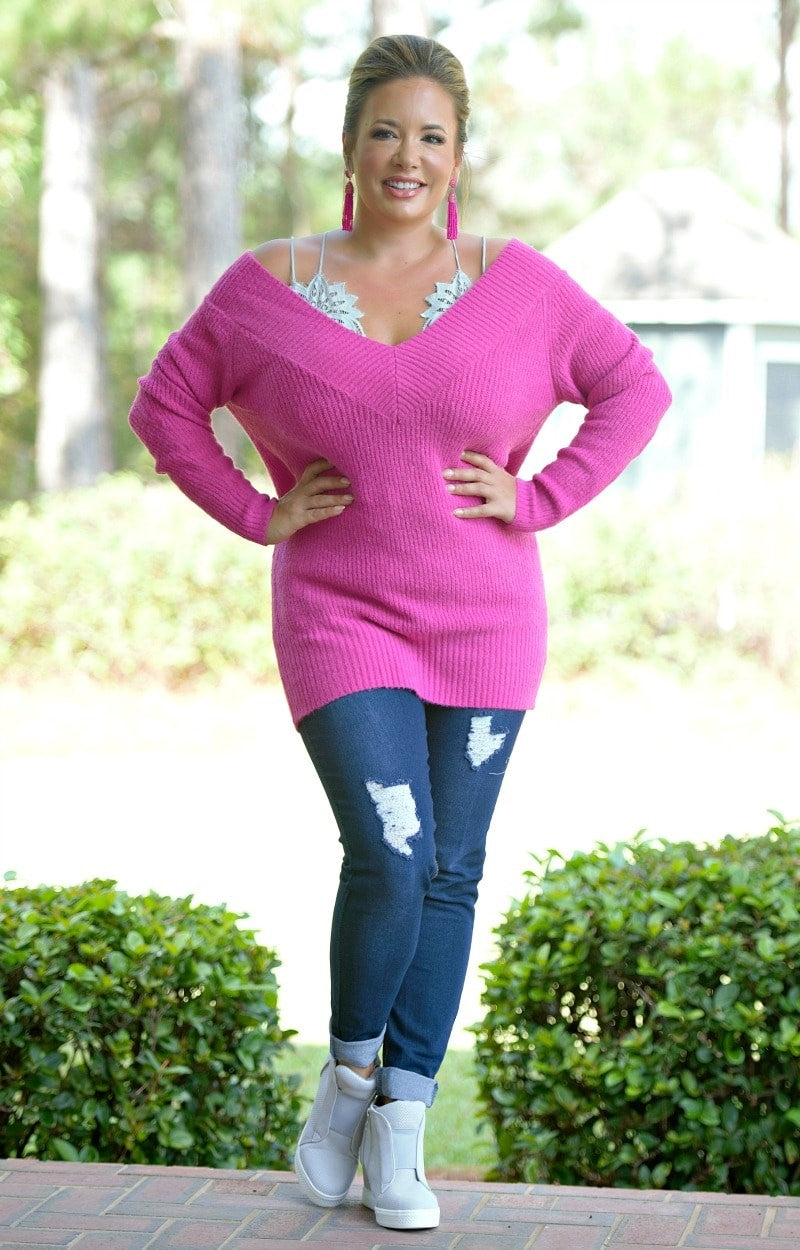 Load image into Gallery viewer, You Know Who Sweater - Fuchsia