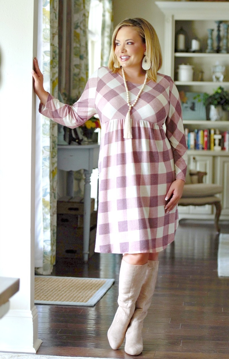 The Way You Walk Plaid Dress - Mauve/Ivory