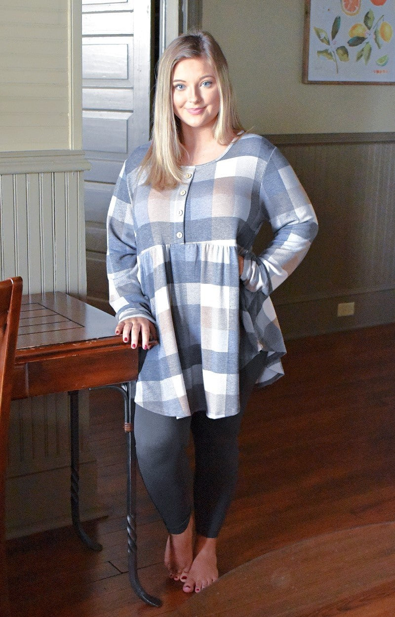Starts With You Plaid Top - Slate