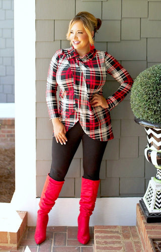 Get Things Going Plaid Top - Black/Red