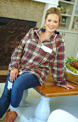 Let's Get Going Plaid Pullover - Multi