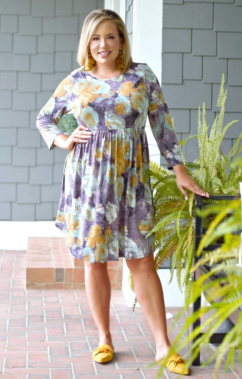 Load image into Gallery viewer, Valley Girl Floral Dress - Purple/Mustard