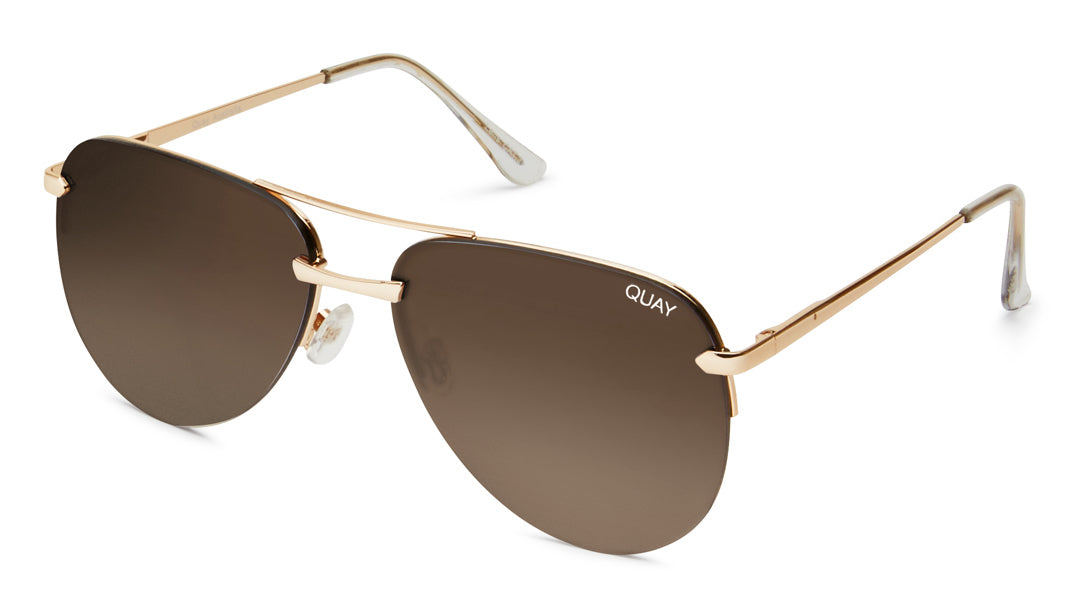 Load image into Gallery viewer, Quay Australia - The Playa Gold/Brown Sunglasses