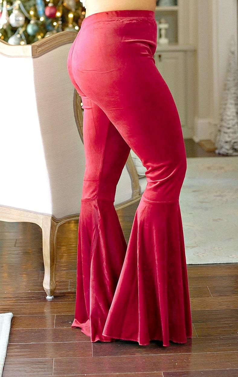 Flare It Out Velvet Pants - Burgundy