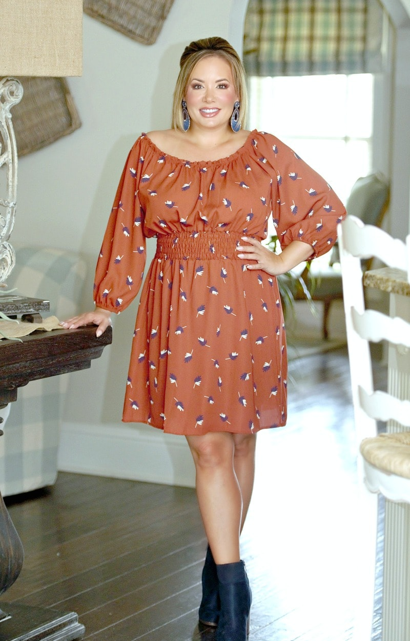 Clued In Print Dress - Rust