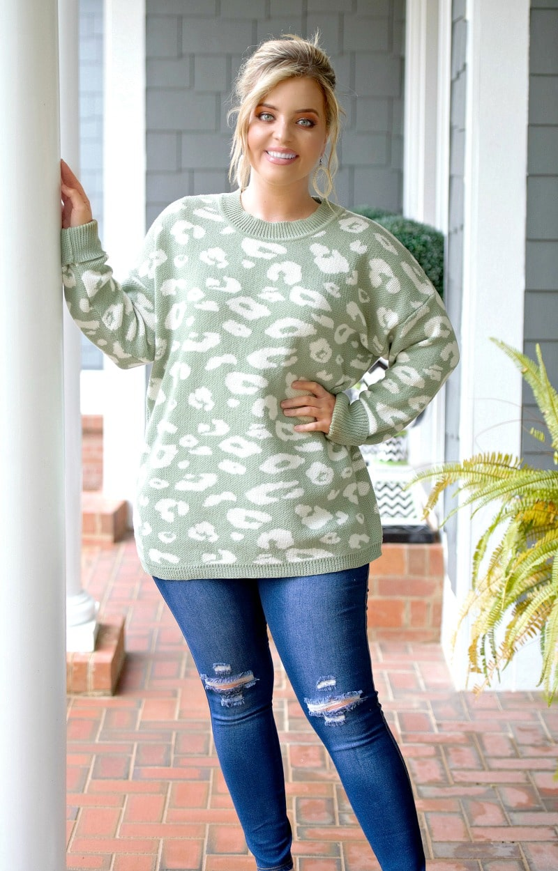 What Matters Most Leopard Print Sweater - Sage