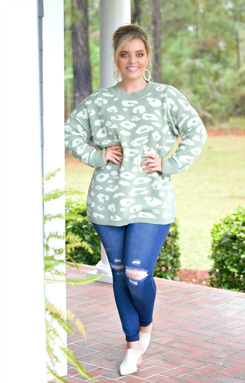 Load image into Gallery viewer, What Matters Most Leopard Print Sweater - Sage