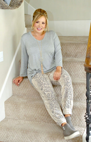 Love Runs Deep Snake Print Joggers