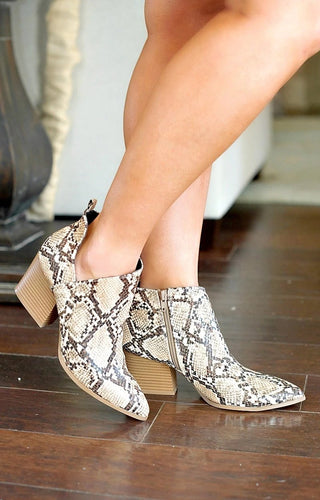Every Little Step Snake Print Booties