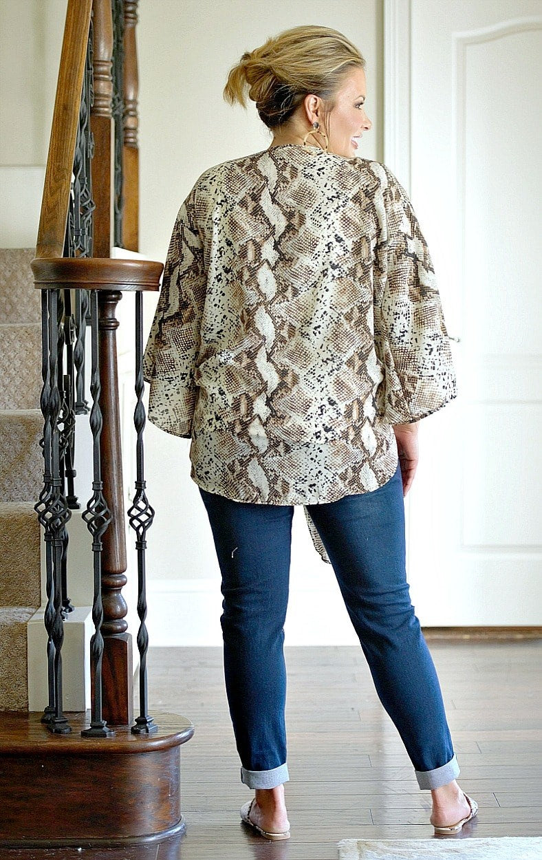 Ready To Strike Snake Print Top - Brown/Taupe