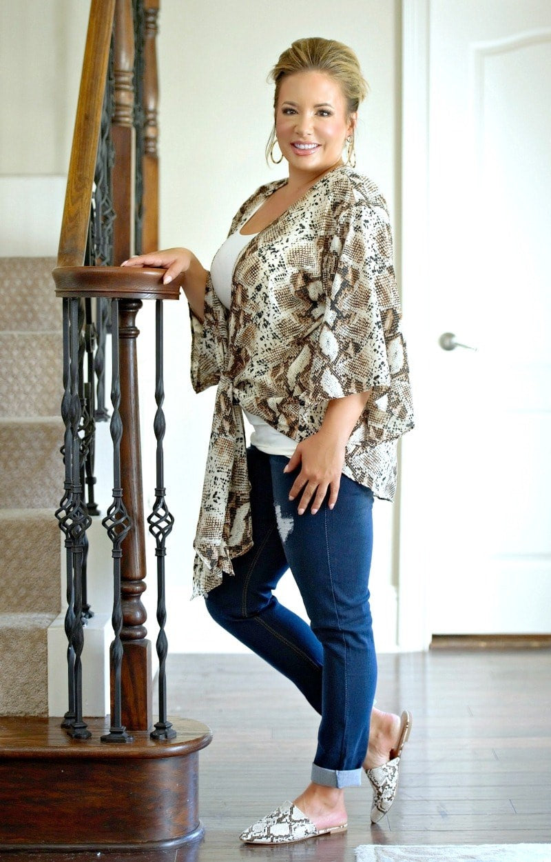Load image into Gallery viewer, Ready To Strike Snake Print Top - Brown/Taupe
