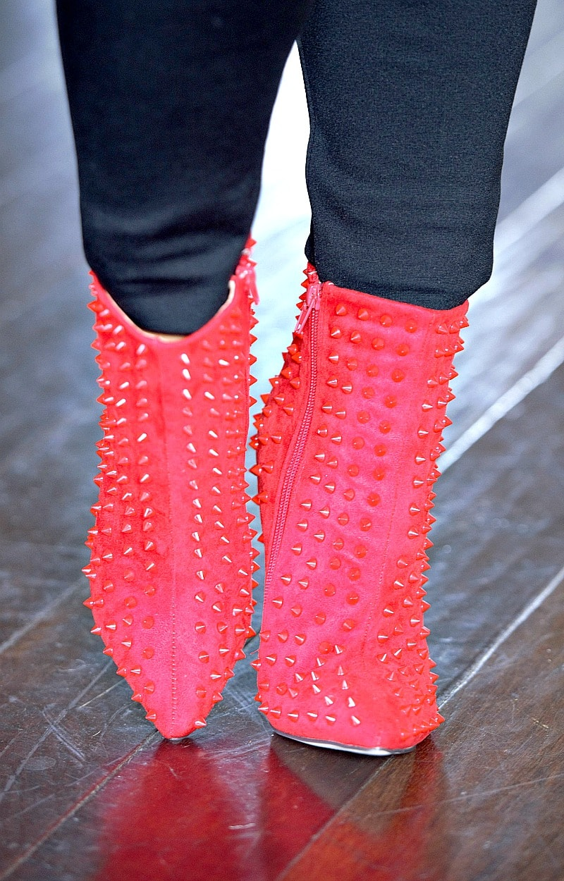 Load image into Gallery viewer, Bad Intentions Studded Ankle Booties - Red