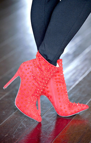 Bad Intentions Studded Ankle Booties - Red