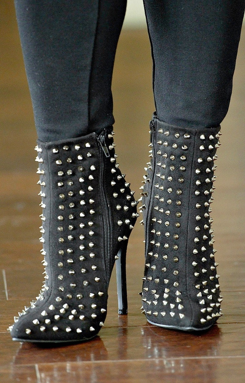 Load image into Gallery viewer, Bad Intentions Studded Ankle Booties - Black