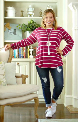What We Have Striped Top - Burgundy