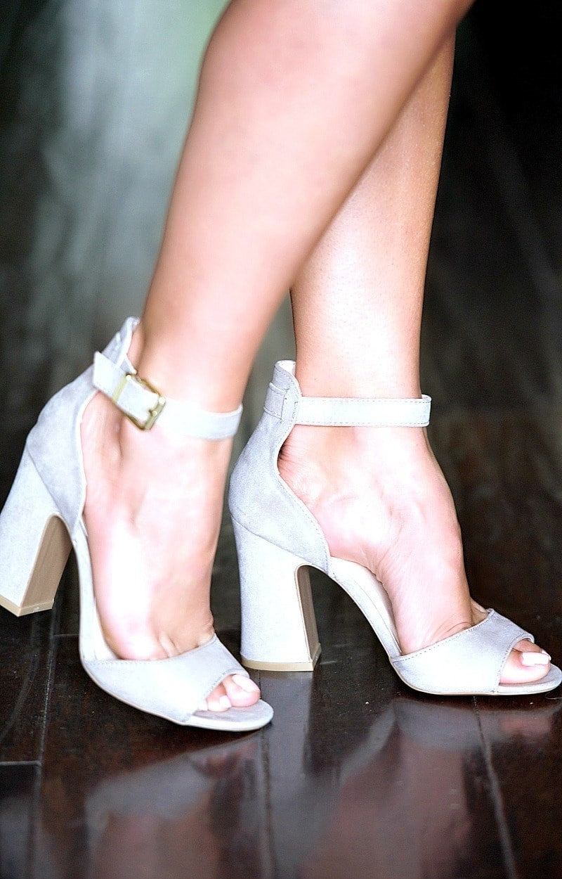 Buckle Up Ankle Strap Heels - Taupe