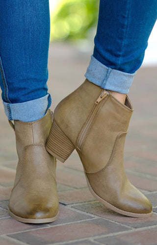 Wander The World Booties - Taupe
