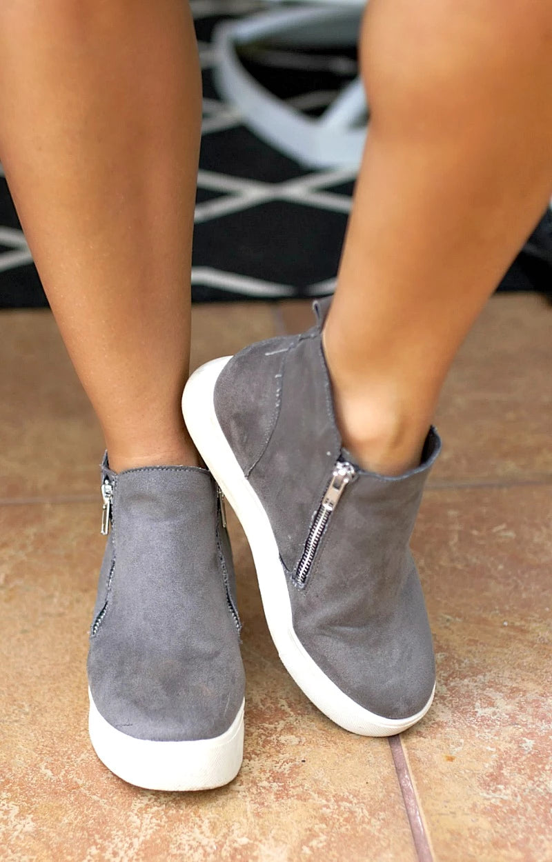 Better For Me Wedge Sneakers - Gray