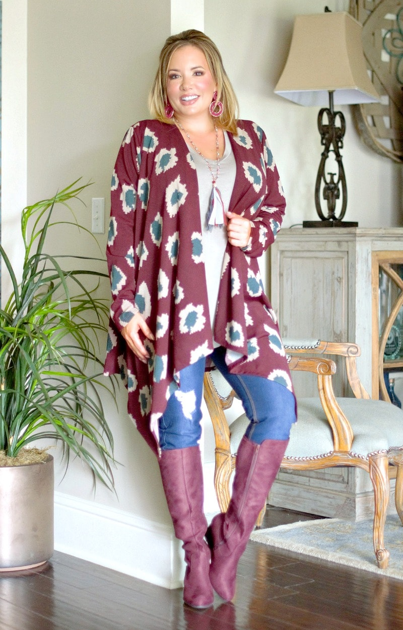 Out Of My Way Print Cardigan - Burgundy