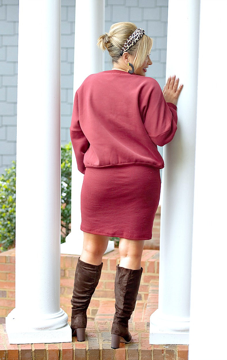 Load image into Gallery viewer, It Suits You Dress - Burgundy