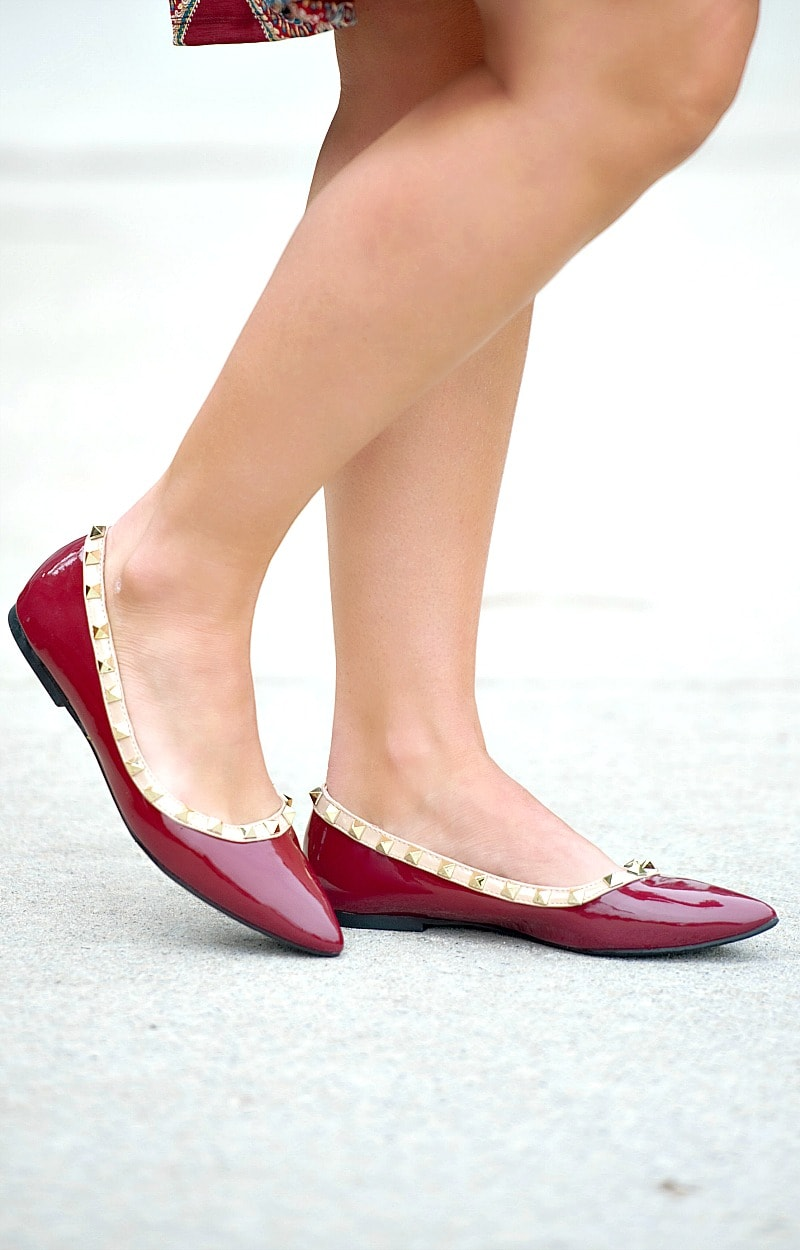Very Unpredictable Studded Flats - Burgundy