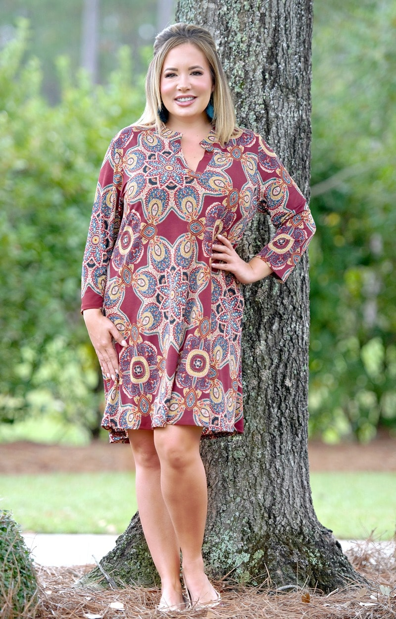 Load image into Gallery viewer, Looking Sharp Print Dress - Burgundy