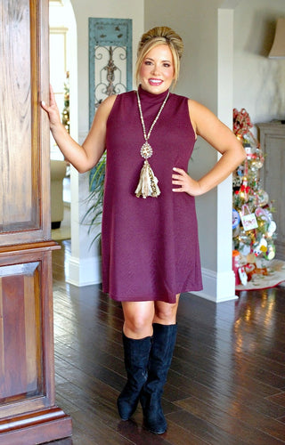 Never Miss A Beat Dress - Burgundy