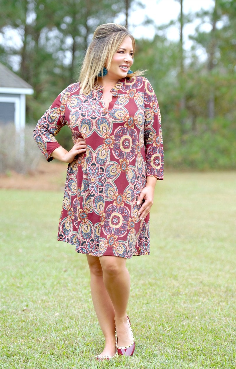 Looking Sharp Print Dress - Burgundy
