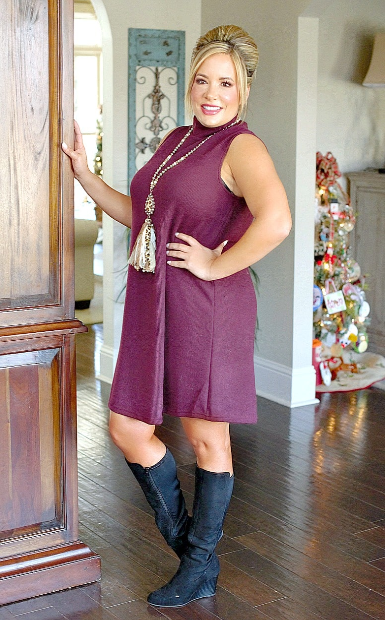 Load image into Gallery viewer, Never Miss A Beat Dress - Burgundy