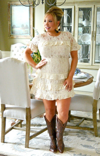 A Real Beauty Lace Dress - Cream