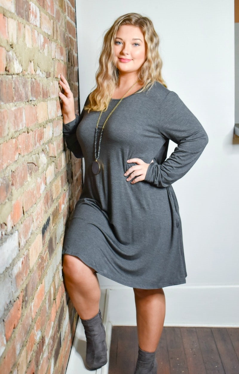 Load image into Gallery viewer, Lost In Your Eyes Dress - Charcoal