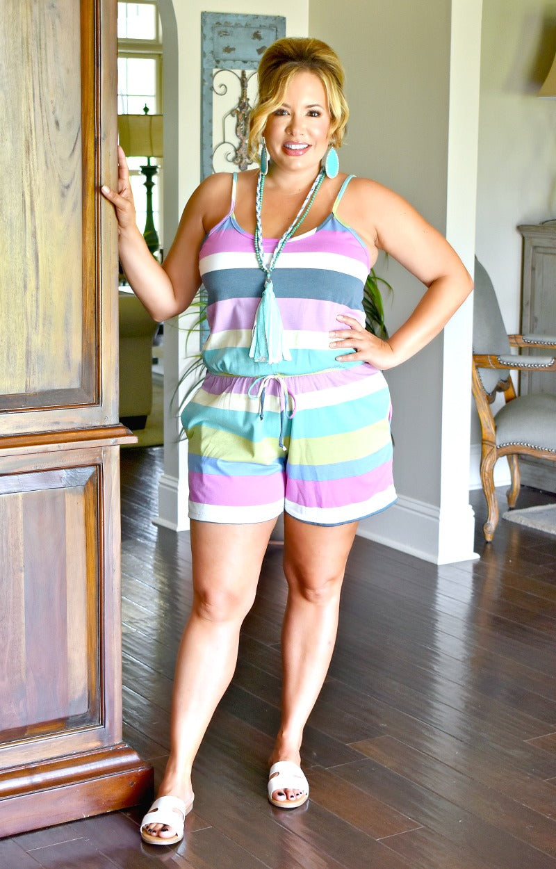 Load image into Gallery viewer, Back Again Striped Romper - Multi