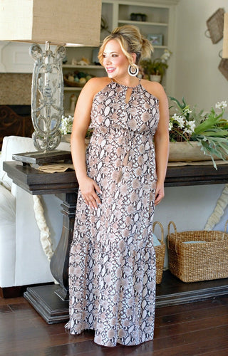 Bad Little Thing Snake Print Maxi Dress