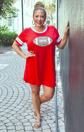Team Spirit T-Shirt Dress - Red