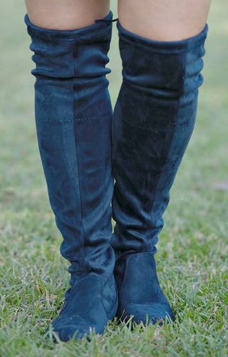 Have To Wait Over The Knee Boots - Navy