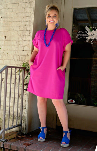 On A Roll Dress - Fuchsia