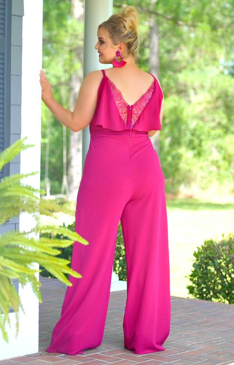 Load image into Gallery viewer, Havana Nights Jumpsuit - Berry