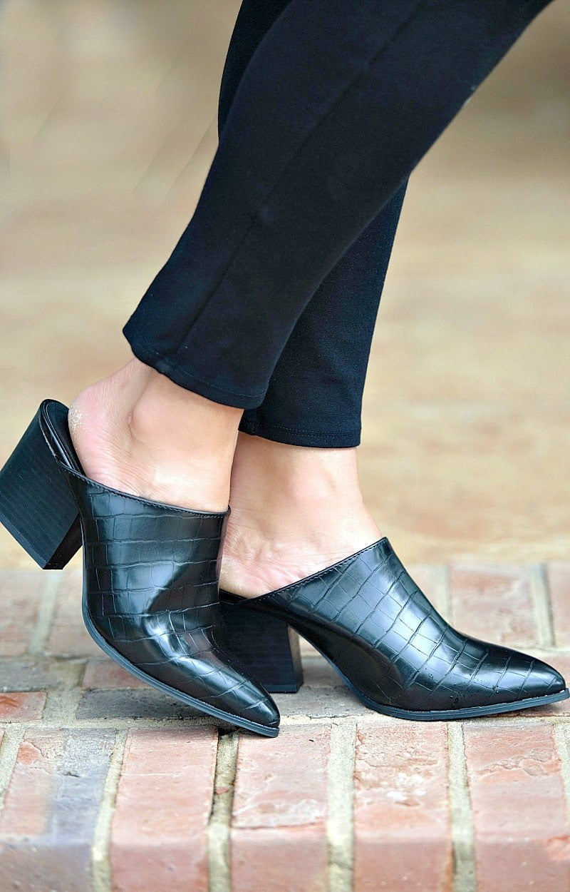Just Like This Crocodile Mules - Black