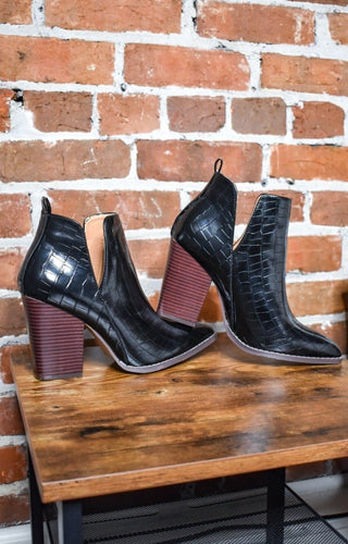 Bring The Heat Crocodile Booties - Black