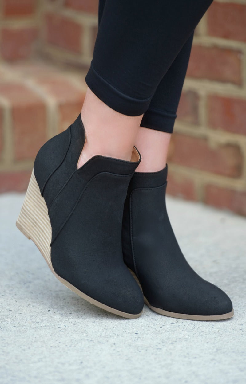 Load image into Gallery viewer, Where We Belong Wedge Booties - Black