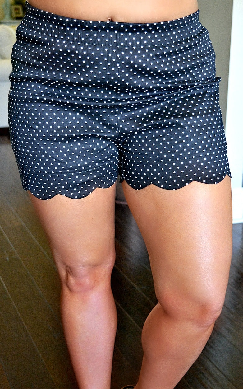 Treasured Heart Polka Dot Scalloped Shorts - Black