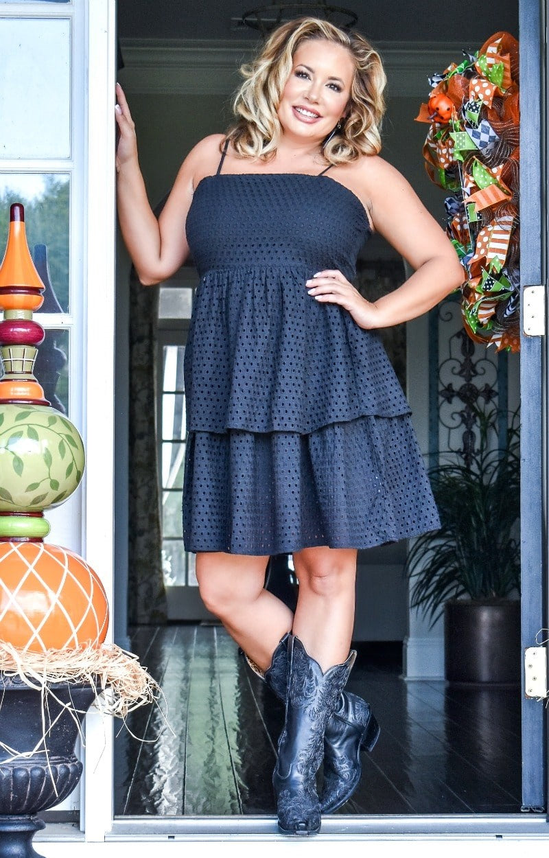 Load image into Gallery viewer, Take Me On A Date Eyelet Dress - Black