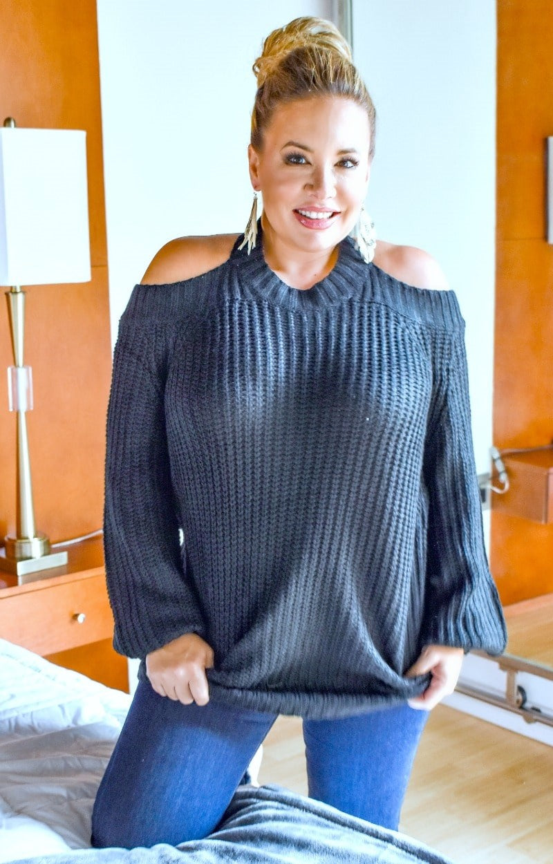 Load image into Gallery viewer, Come This Way Cold Shoulder Sweater - Black